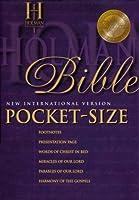 New International Version Pocket Size Bible: Red Letter Genuine Leather Black