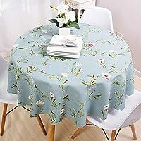 テーブルクロス テーブルカバー 北欧 柄物テーブルクロス 厚手 花柄 円形 水洗い エレガント 多用途 160cm ブルー 装飾