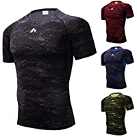 Compression Shirt Sweat Wicking Sports Tights Running Gym Rashguard for Men Short Sleeve