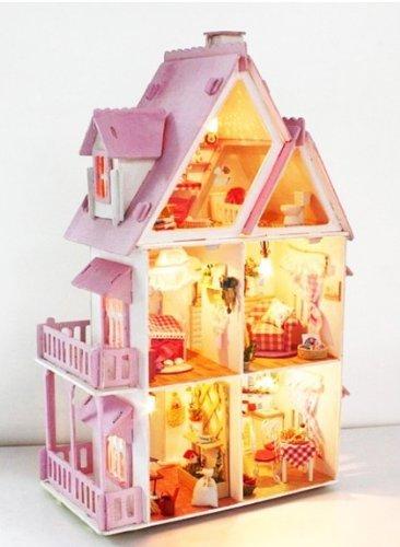 塗装から組み立てまで手作りしよう♪ 木製ミニチュアドールハウス  木製 大人向け 自分で手作り! 電球で光る ミニチュア インテリア 自作 図工 工作