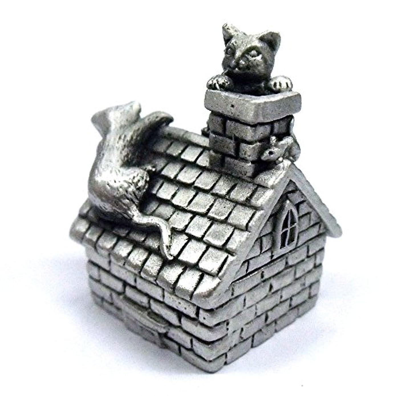 ヒットひそかに回転させるA.E.Williams 猫のトゥースボックス 追いかけっこ ピューター 錫 英国製 乳歯入れ ケース かわいい