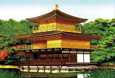フジミ模型 1/100 金閣寺屋根茶色塗装仕様