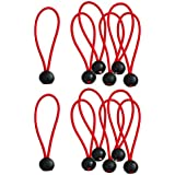12 Pieces Heavy Duty Bungee Ball Cord Tarp Tent Tie Down Tope Red 6 Inch