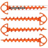 Orange Screw: The Ultimate Ground Anchor   Small 4 Pack   Made in The USA