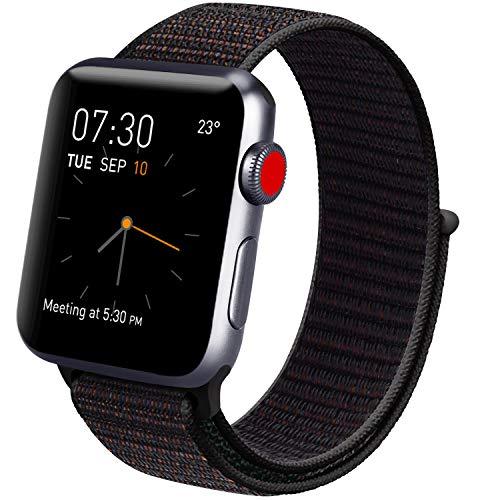 Vancle コンパチブル Apple Watch バンド 38mm 40mm 42mm 44mm ナイロンスポーツループバンド iWatch Series4/3/2/1に対応 (42mm/44mm, 01 ブラック)