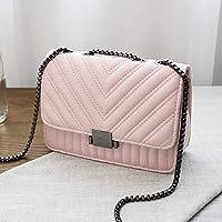 Hungliping 2019年夏の新ファッションチェーンショルダーバッグ斜めの小さな正方形のバッグハンドバッグ (色 : PINK)