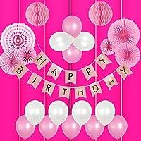 誕生日 飾り付け 女の子 バルーン HAPPY BIRTHDAY ガーランド バースデー ペーパーフラワー フラッグガーランド 240㎝ 特大 (▽垂無, ピンク)