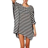 DQdq Women's Oversized Striped Beach Bikini Swimwear Cover-Up