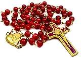 Saint BenedictロザリオレッドガラスビーズSt San Benito Cross Nr Medalカトリックネックレス
