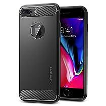 【Spigen】 スマホケース iPhone8 Plus ケース/iPhone7 Plus ケース 対応 TPU 耐衝撃 米軍MIL規格取得 ラギッド・アーマー 043CS20485 (ブラック)