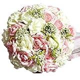 ウェディングブーケ (ホワイト&ピンク) 造花 花束 結婚式 二次会 撮影 にも