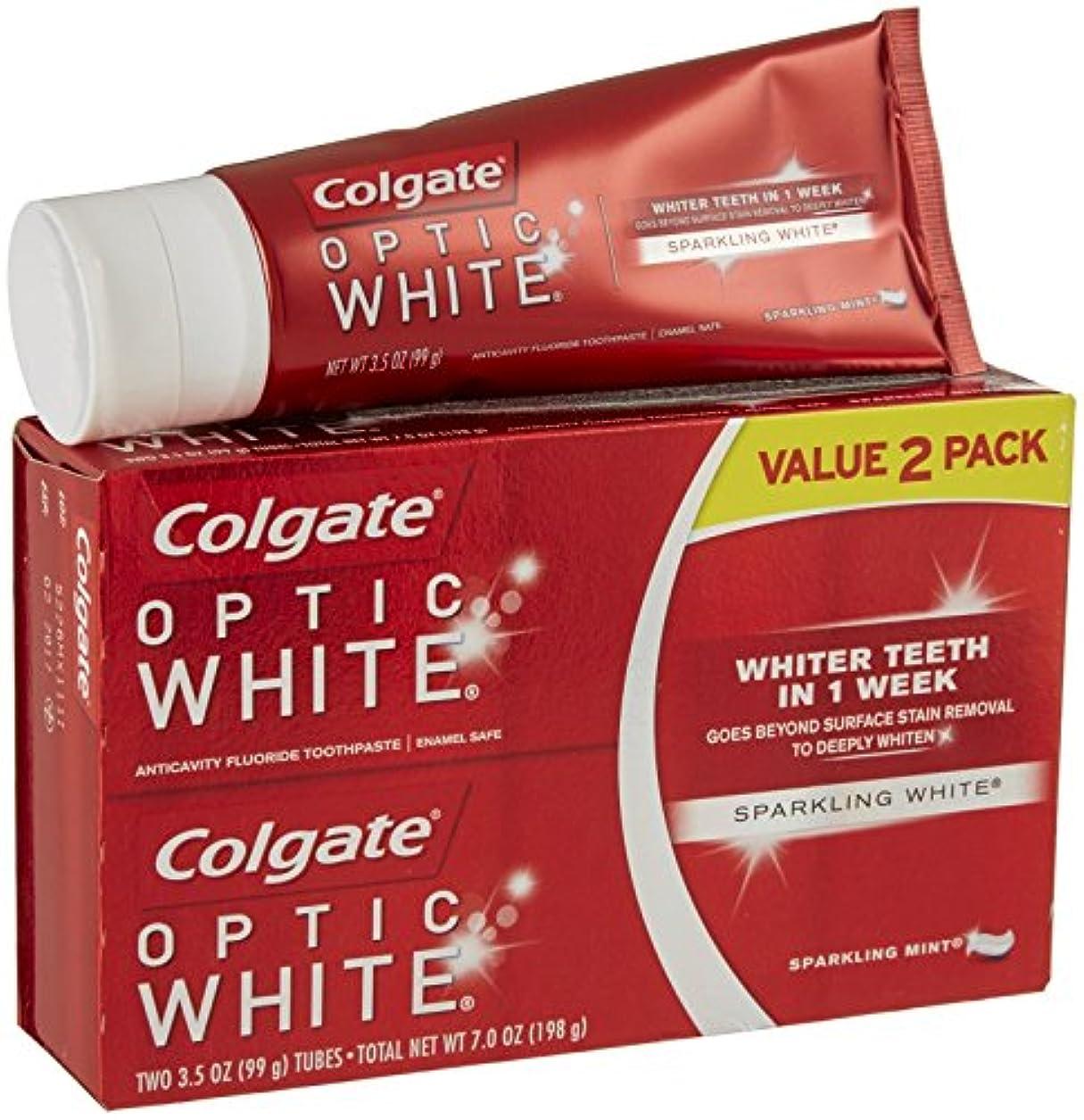 症候群ご注意隔離コルゲート オプティック ホワイト スパークリングミント 99g 2個パック