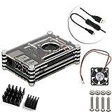 4in1アップグレード 高品質 アクリルRaspberry Pi Model B+ Raspberry Pi 2/3 Model B 専用アクリル・ケース+ファン+ヒートシンク*2+スイッチ付きケーブル (Black/黒)