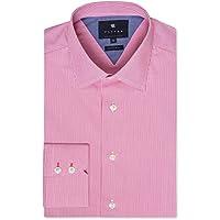 Wayver Men Pink Stretch Poplin Stripe Business Shirt Pink Stretch Poplin Stripe Business Shirt, Pink (Pink)