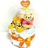 16094 おむつケーキ2段 男女共用 くまのプーさん ガラガラ・スタイ・ベビーソックス オムツケーキ ディズニーキャラクター 出産祝い