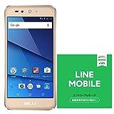 BLU(ブルー)GRAND X LTE SIMフリースマートフォン ゴールド 専用ケース付 【日本正規代理店品】 G0010JJ/GOL-38&LINEモバイル 音声通話SIMエントリーパッケージ (ナノ/マイクロ/標準SIM)[カウントフリー・iPhone/Android共通・ドコモ対応]