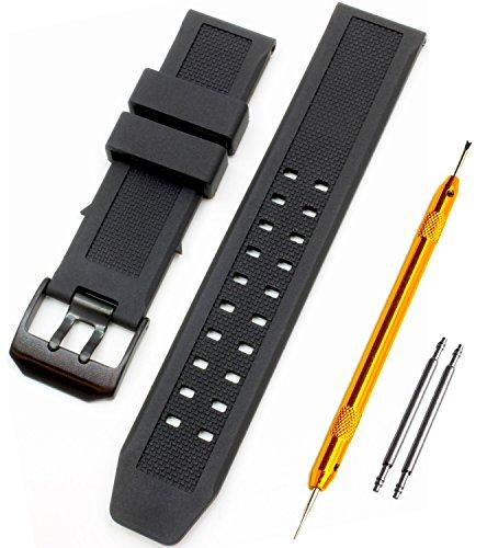 Luminox ルミノックス純正バンド互換品 取付幅23mm ブラックバックル 時計ベルト ラバーバンド 2PiS