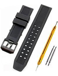 Luminox ルミノックス純正バンド互換品 取付幅23mm ブラックバックル 時計ベルト ラバーバンド 2PiS 【 バネ棒外し&バネ棒2本&交換マニュアル付 】