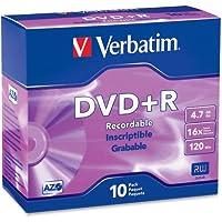 "Verbatimアメリカ、LLC–Verbatim 95097DVD Recordableメディア–DVD + R–16x–4.70GB–10パックスリムケース–2時間最大記録時間""製品カテゴリ:ストレージメディア/光学メディア"""