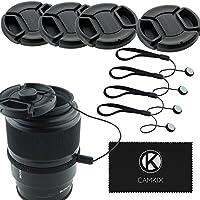レンズキャップバンドル - スナップオン・レンズカバー4つ ニコン、キャノン、ソニーを含むDSLRカメラ用 - レンズキャップキーパー付き(72ミリ)