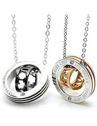 シルバーワン(Silver1)hi ペア ネックレス カップル 刻印 ダブルリング 石付きペンダント&チェーン セット