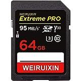 WEIRUIXIN 64GB SDカード デジタルカメラ用の高速SDカード(最大転送速度95MB/s) 耐温度、防水 耐磁 耐X線 静電耐性 超高速転送【正規品 5年保証】 (64GB SDカード)