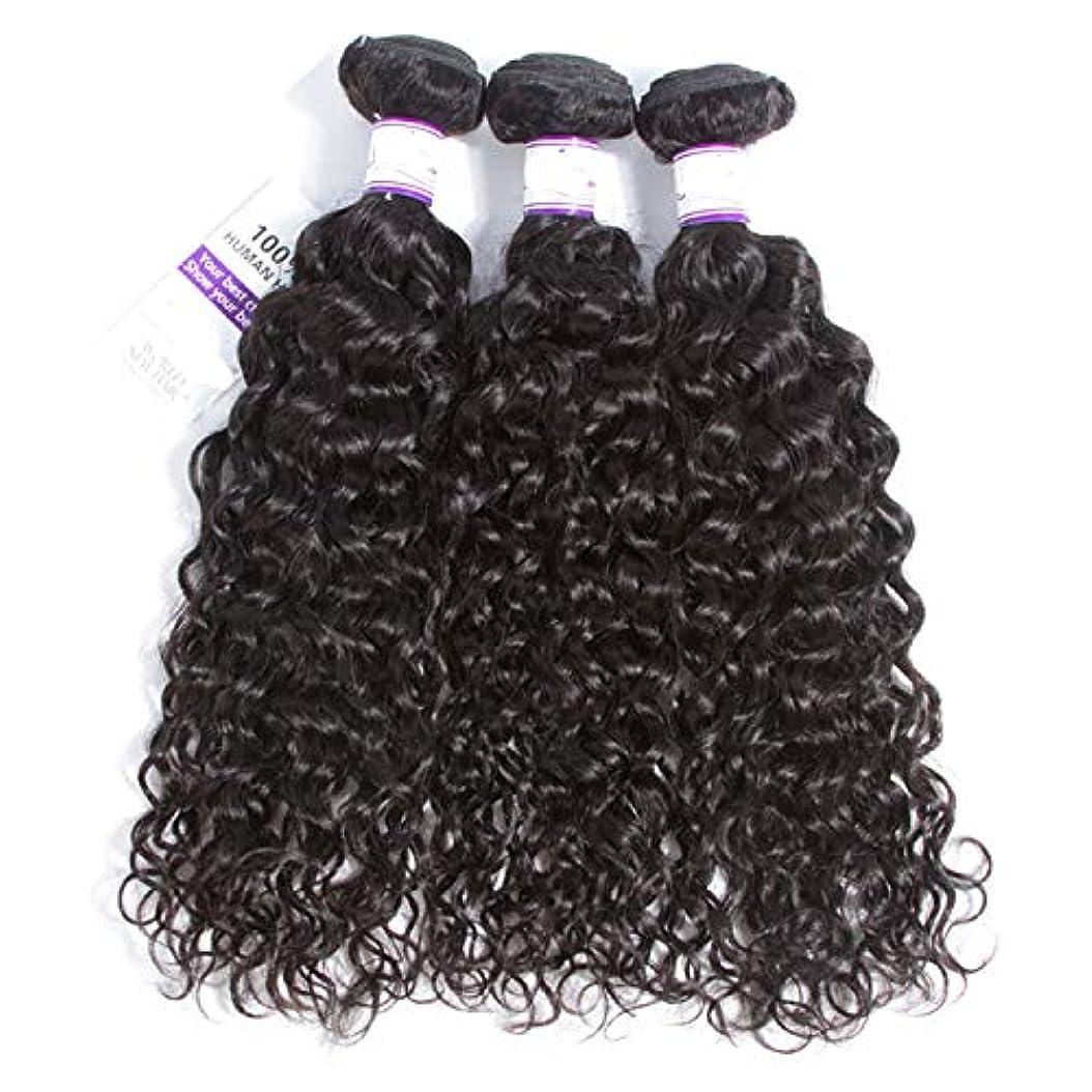落胆する厄介な真実マレーシアの水の波の髪3個ナチュラルブラック人間の髪の毛の束非レミーの毛延長8-28インチ (Length : 16 18 20)