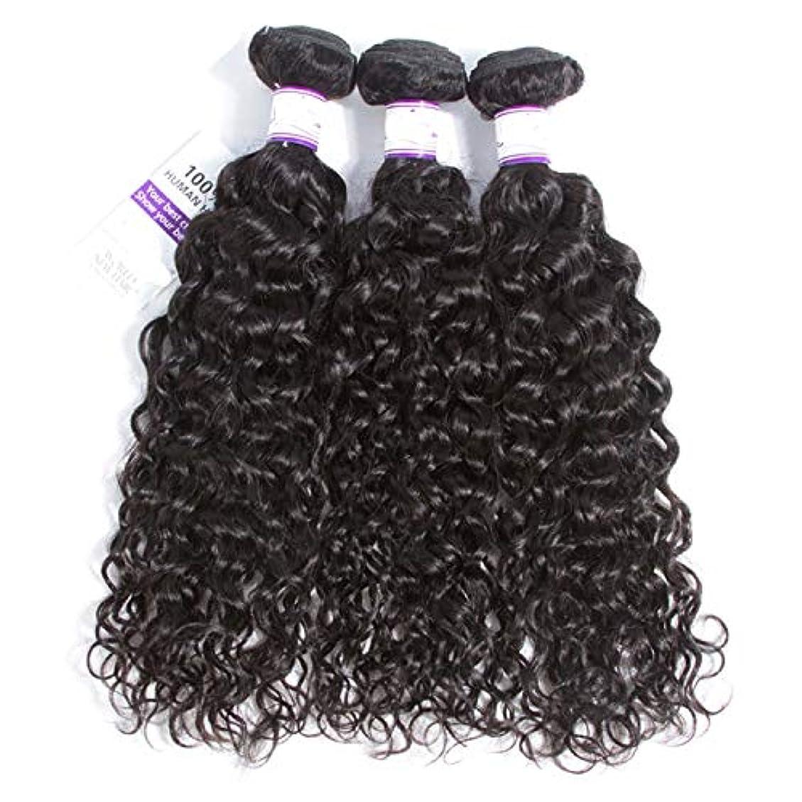 マレーシアの水の波の髪3個ナチュラルブラック人間の髪の毛の束非レミーの毛延長8-28インチ (Length : 16 18 20)