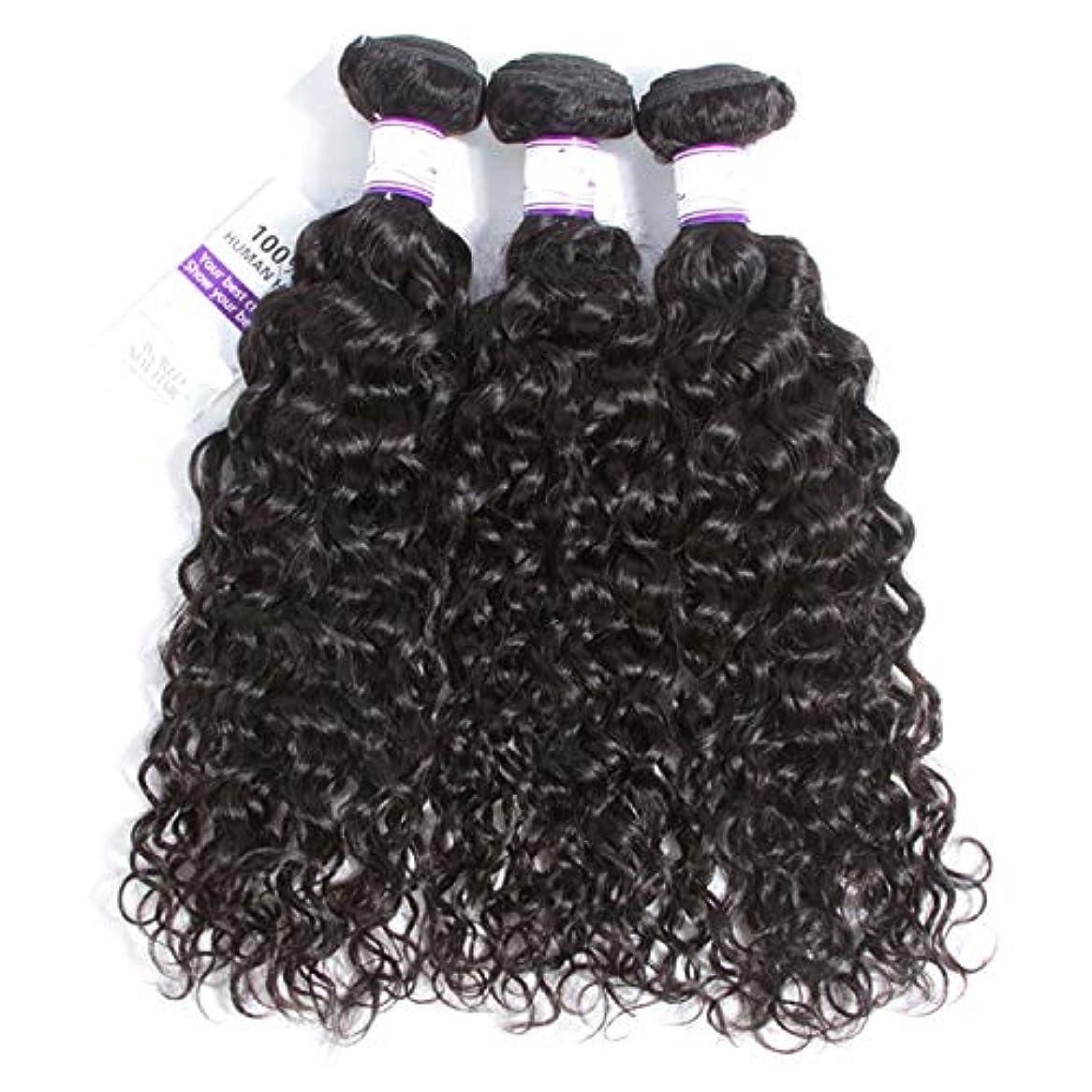 拒絶遊具コンプリートかつら マレーシアの水の波の髪3個ナチュラルブラック人間の髪の毛の束非レミーの毛延長8-28インチ (Length : 12 14 14)