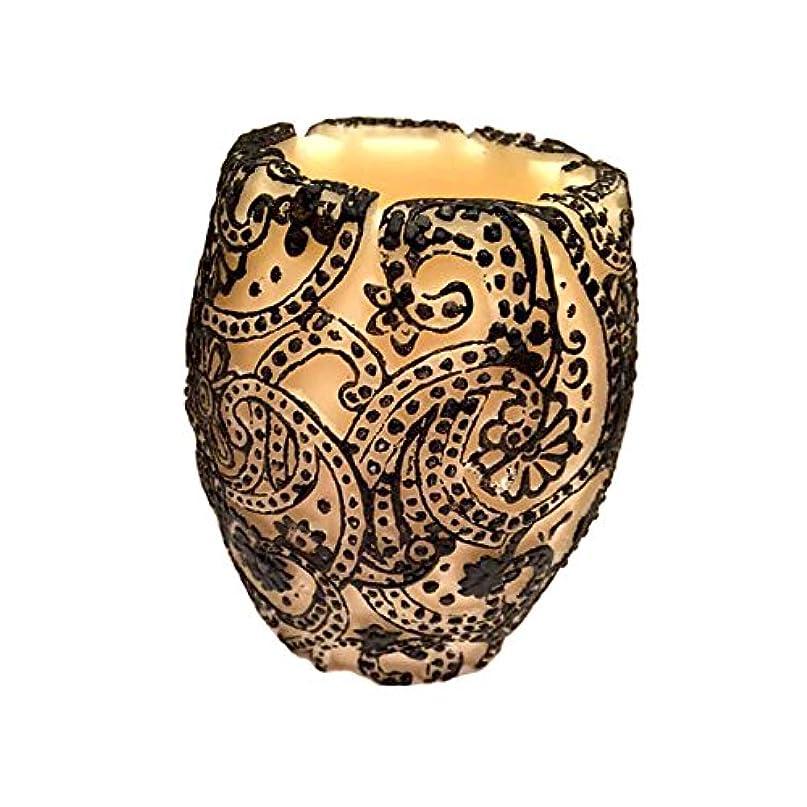 緊張する死にかけている月面Paisley Vase (Ivory×Black/グリーンティー)
