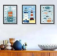 地中海の壁掛けトリプティクデコ額縁組み合わせ寝室ダイニングルームソリッドウッドの額縁風景壁掛け背景絵画 yumingjingxiao1-11.5 (Color : Black, Size : 34*40)