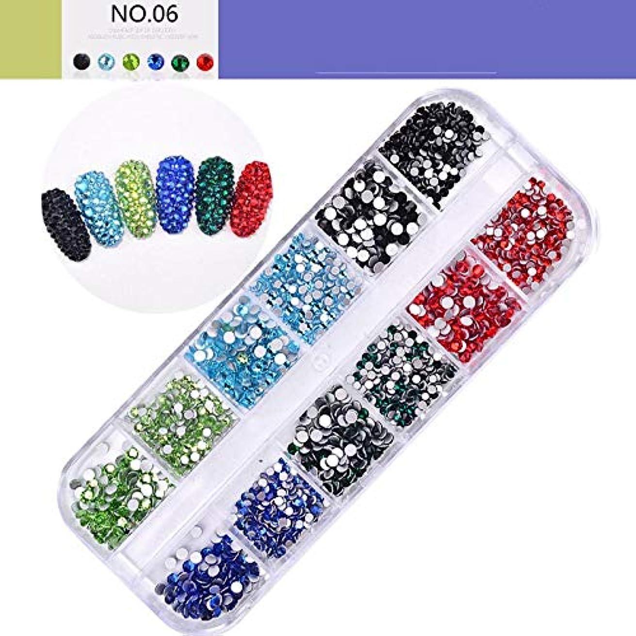 細胞人工橋Jiaoran 1セットdiyネイルアートラウンドクリスタルabビーズフラットバックガラスネイルグリッターラインストーンビーズマニキュア装飾ツール (Color : 6)