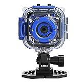 DROGRACE キッズカメラ 子供カメラ 防水機能付き1080P高画質 子供用デジタルカメラ 1.77インチ携帯型HDカメラ ブルー