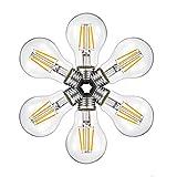 A60 4W LEDフィラメント電球、2700K(ウォームホワイト)調光器非対応 360lm、白熱電球40W形相当 アンティークGlobe形状、e26Mediumベース クリア電球 、6パック(2年の保証)