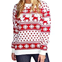 FASHION FAIRIES Ladies Reindeer and Snowflake Knitted Xmas Jumper Top Women Long Sleeves Sweater