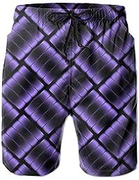 メンズ 水着紫色の金属 男性スポツパンツボードショーツ 通気速乾