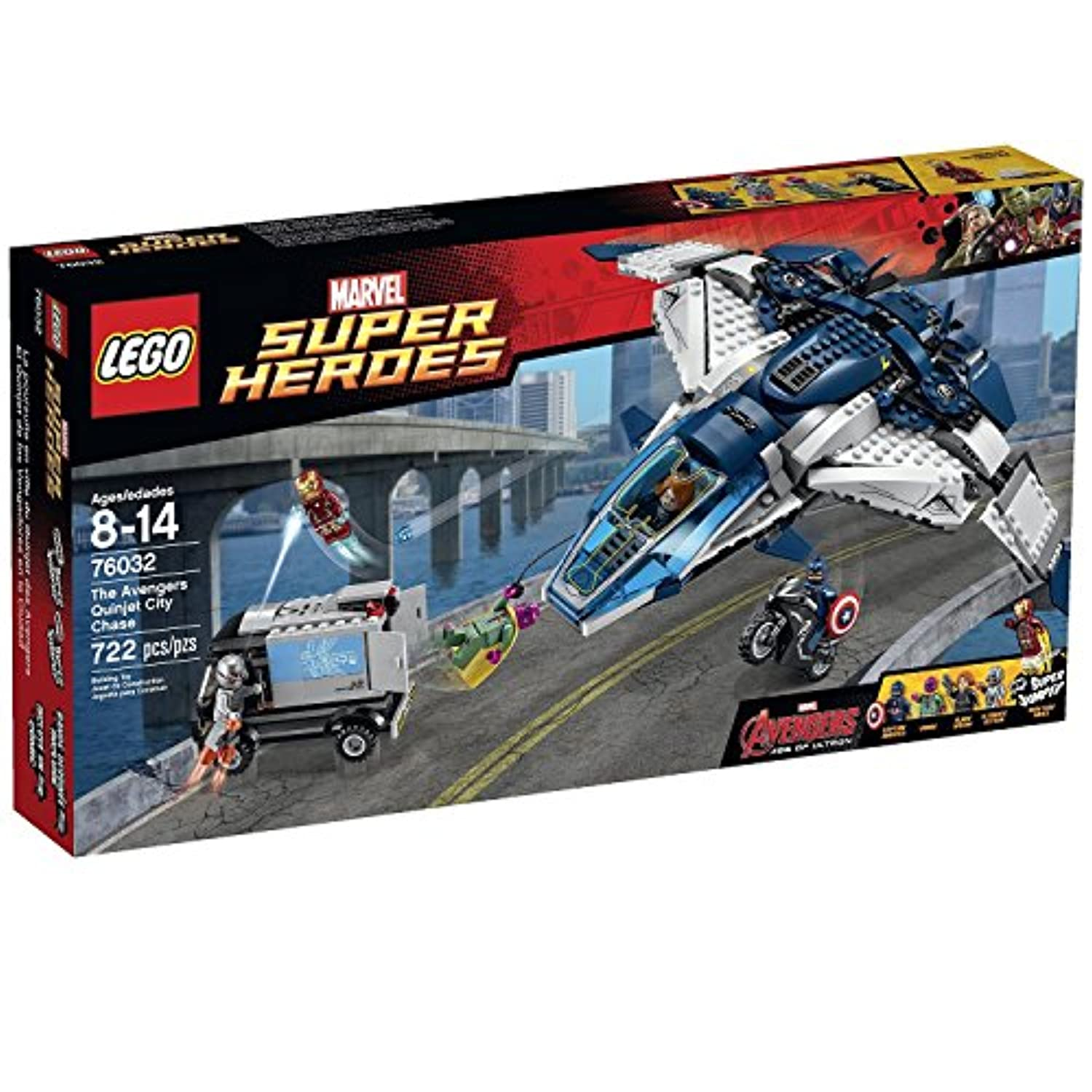 722 Pieces, the Avengers Quinjet City Chase Building Toy