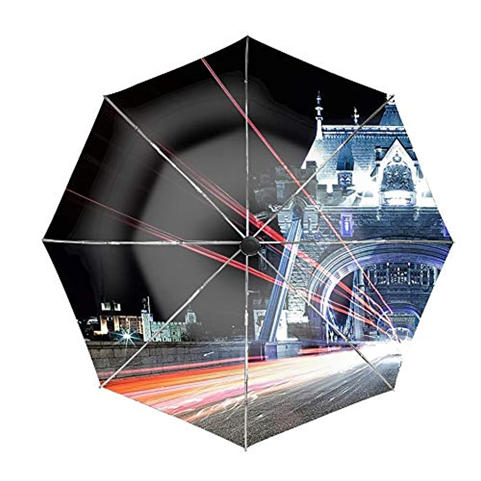 前書きリットル革命的日傘 uvカット 100%遮光 折りたたみ 男女兼用 レディース 自動開閉 晴雨兼用 ロンドンタワーブリッジ