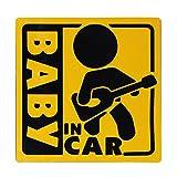 BABY IN CAR 赤ちゃん乗車中 マグネット 外貼り ステッカー12cm 黄色 ギター