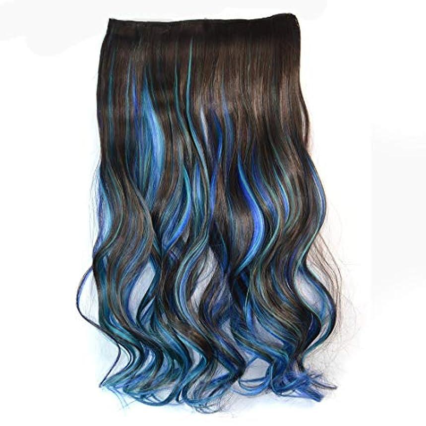 床熱望する中性WTYD 美容ヘアツール ワンピースシームレスヘアエクステンションピースカラーグラデーション大波ロングカーリングクリップタイプヘアピース