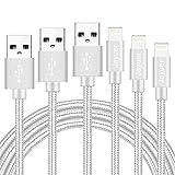 ライトニング ケーブル【3本セット1M/2M/3M】USBケーブル8pin 持ち運びが容易高耐久編み Lightning ケーブル急速充電対応iPhone 7/7 Plus /6/6s Plus/6 Plus/5/5C/5S/SE/iPad/Air/Mini/Nano/Touchなど, ios10互換- ホワイト