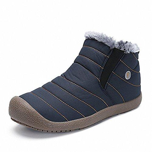 スノーシューズ レディース メンズ 防水 防寒 防滑の綿靴 雪靴 通学 通勤用(ブルー 25)