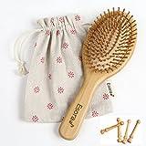 Esora 天然 竹櫛 ヘアブラシ (替えピン付) 頭皮 マッサージ 静電防止 薄毛 ヘアケア 木製 パドルブラシ (楕円型)