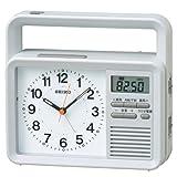 SEIKO CLOCK(セイコークロック) ラジオ 付き 防災 時計 アナログ 手動 発電機付き 目ざまし 時計 グレー KR885N