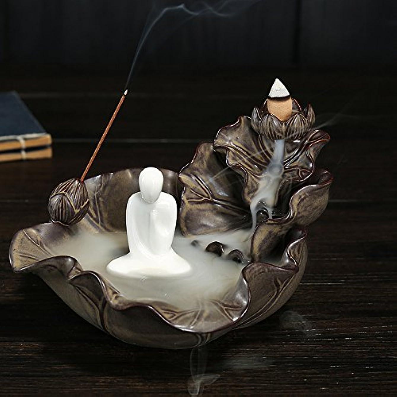 複合かみそりすでに逆流香炉、香ホルダー、Monk Incense Burner Ceramics Incense Holder with 10pcs Backflow Incense Cones One Size ブラウン 125025