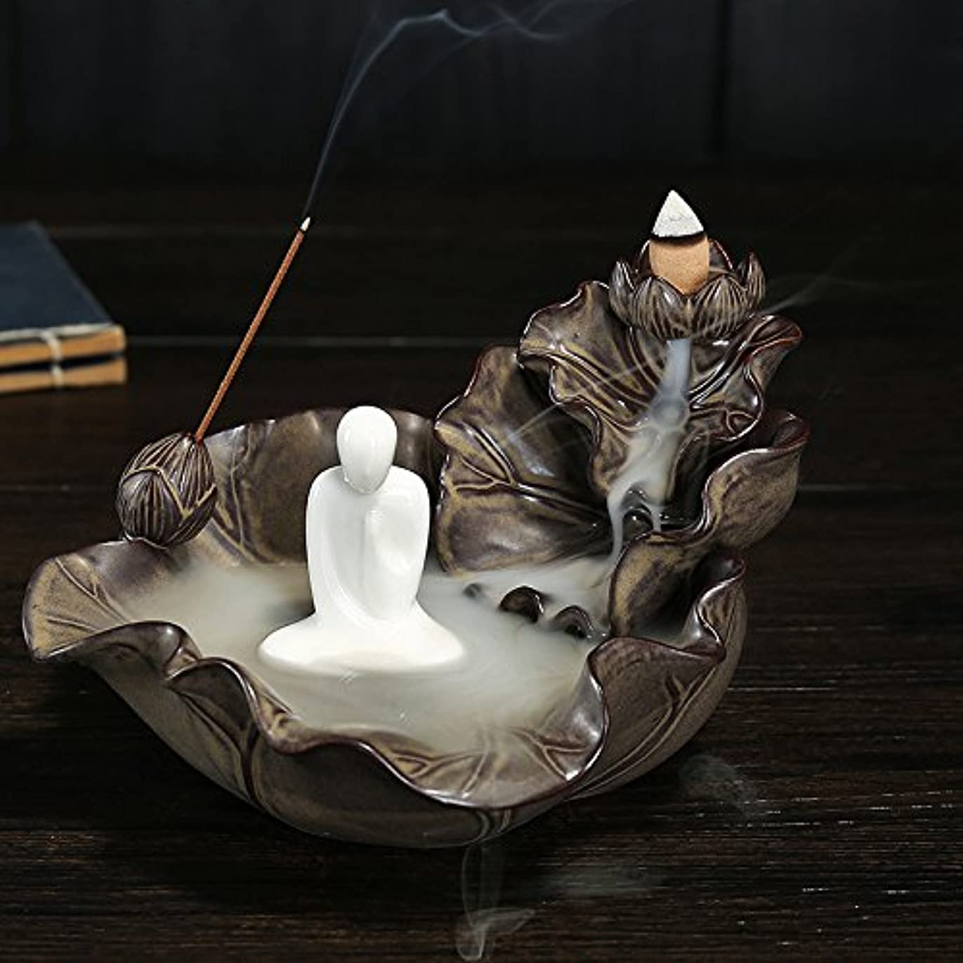 へこみオピエートバズ逆流香炉、香ホルダー、Monk Incense Burner Ceramics Incense Holder with 10pcs Backflow Incense Cones One Size ブラウン 125025