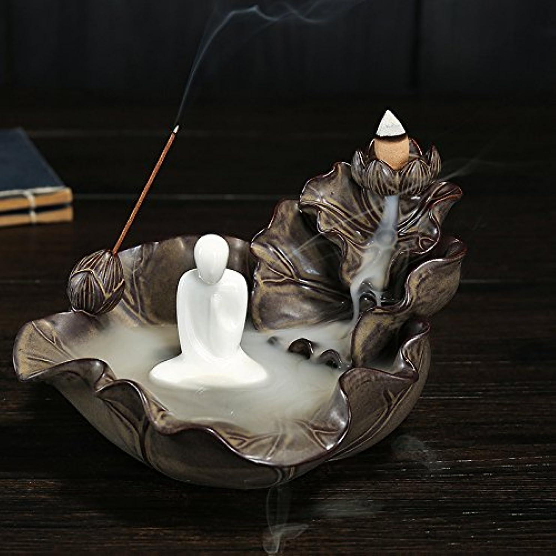 選挙例宝石逆流香炉、香ホルダー、Monk Incense Burner Ceramics Incense Holder with 10pcs Backflow Incense Cones One Size ブラウン 125025