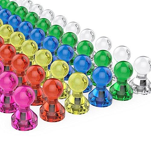 Aitsite 超強力マグネットピン マグネット磁石ピン ネオジウム磁石 カラーマグネットピン オフィス用品 学校用品 地図やホワイトボード 冷蔵庫に最適 7色 60個入