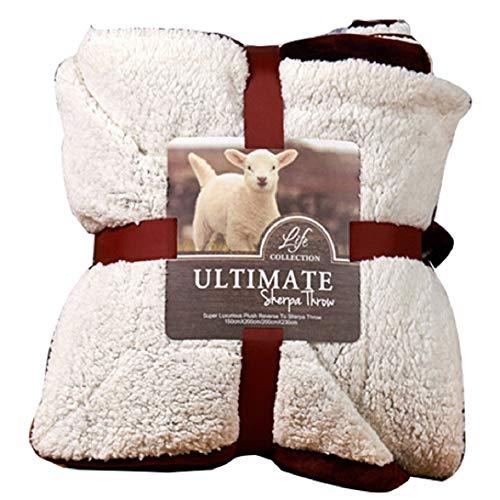 Hanacat 毛布 シングル 掛け毛布 2枚合わせ シープ調 ボア あったか 洗える ワイン(150×200cm)