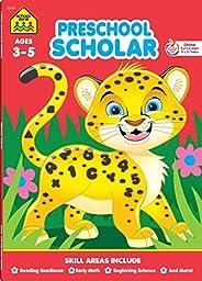 School Zone - Preschool Scholar Workbook - 64 Pages, Ages 3 to 5, Preschool to Kindergarten, Reading Readiness